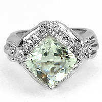 Кольцо серебряное 925 натуральный зеленый аметист, цирконий.