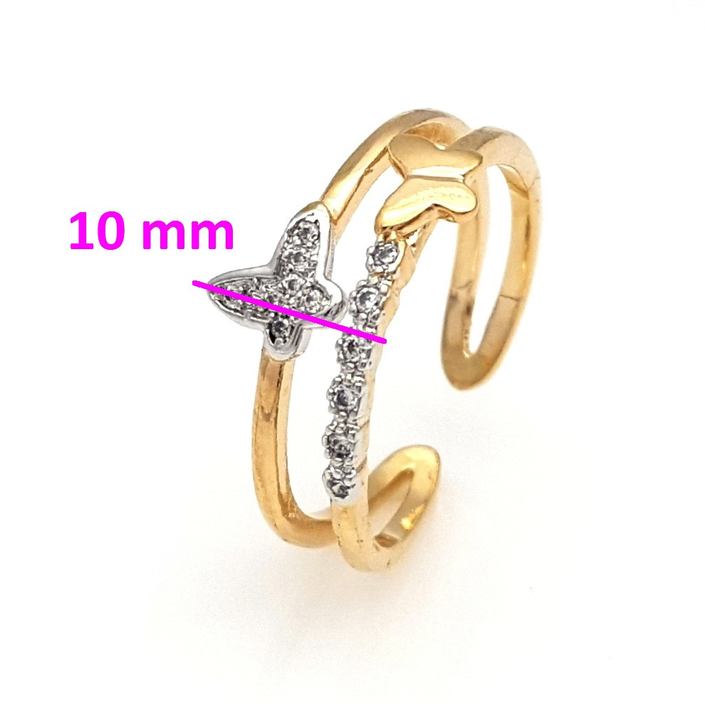 Кольцо Две Бабочки, с камнями, р.18-18,5, позолота+родий