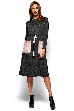 2d156b065f9 Демисезонное платье миди свободного кроя с накладными карманами длинные  рукава черное