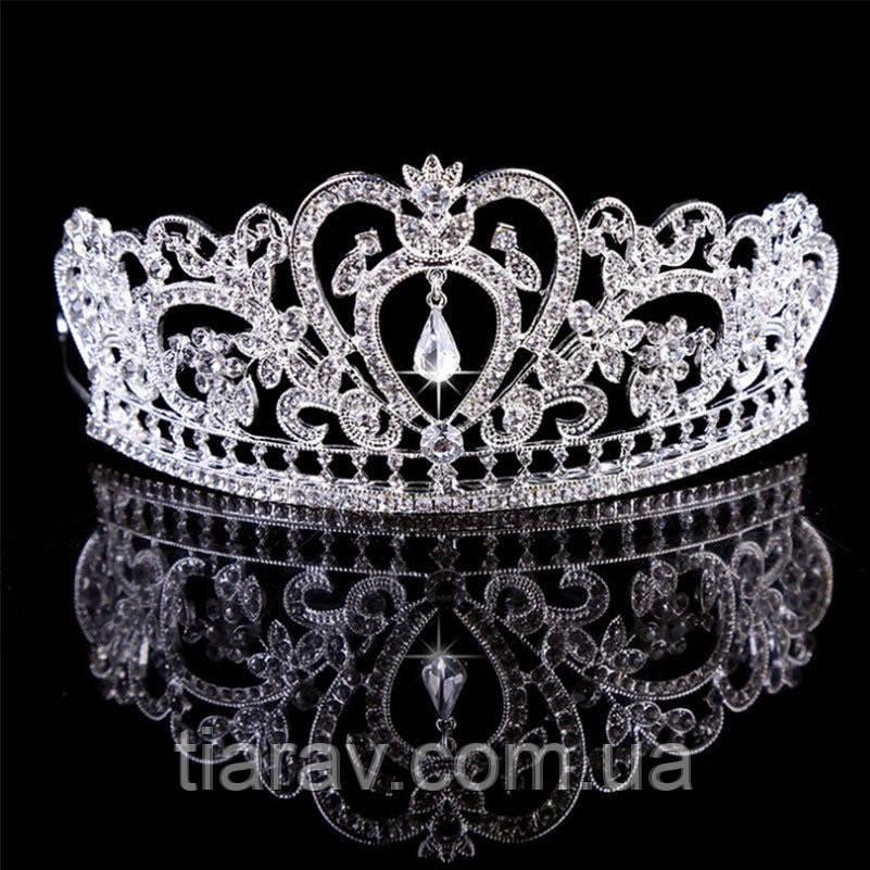 Тіара Діадема весільна Фіона срібло для волосся корона висока, весільні діадеми