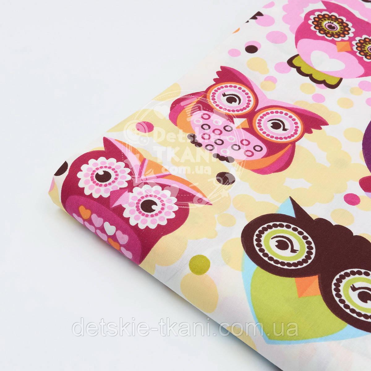 Лоскут ткани №498а  с индийскими совами в розовых тонах