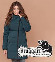 Зимняя женская куртка бирюзовая, теплое полупальто до колена, до -25°C