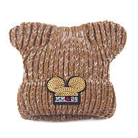 Детская зимняя шапочка для девочки Микки с ушками коричневая опт, фото 1