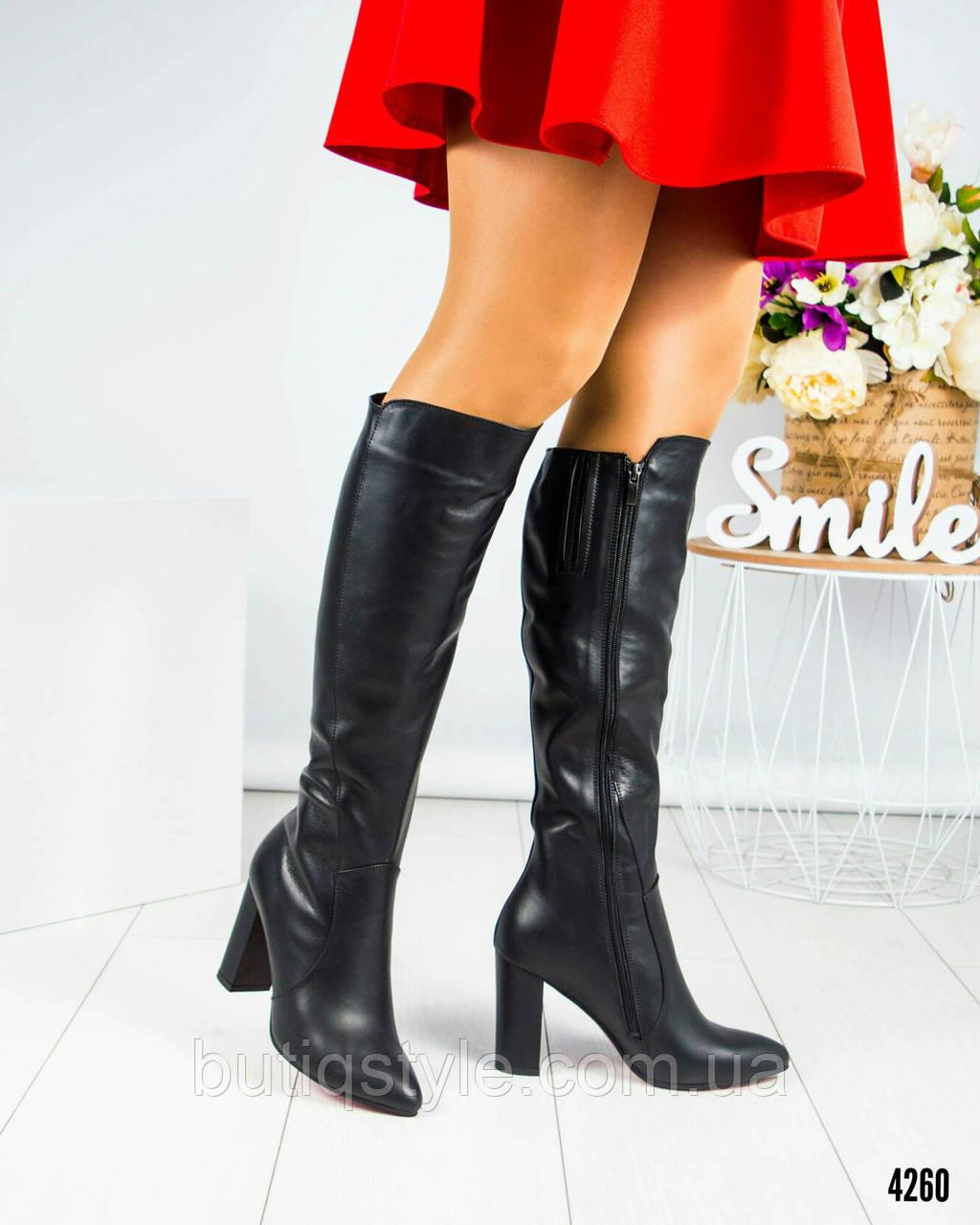 39, 40 размер! Женские деми сапоги на каблуке кожа черные