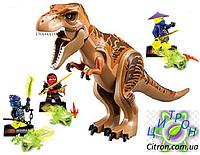 Динозавр Тирекс Лего большой и 3 фигурки Лего-ниндзяго с аксессуарами Длина 29 см. Конструктор динозавр, фото 1