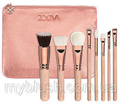 Кисти Zoeva 8 штук (розовое золото)