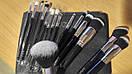 Кисти ZOEVA 15 штук серый ворс (черные), фото 3