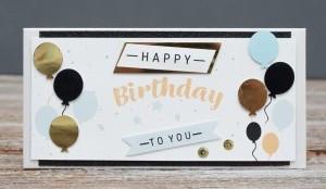Открытка конверт Happy Birthday to you Воздушные шарики золотые и черные