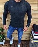 Мужской модный свитер рваный темно-серый