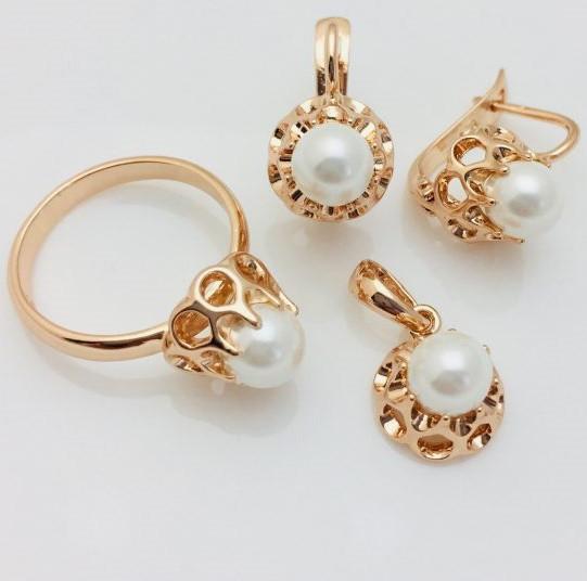 Набор Нежность серьги+ кольцо+ кулон кольца 17