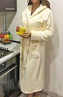 Махровый женский халат с капюшоном