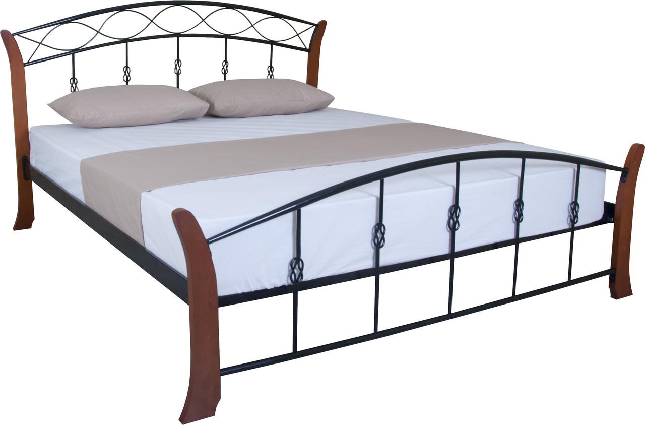 Кровать Летиция Вуд двуспальная 200х120, бордовая