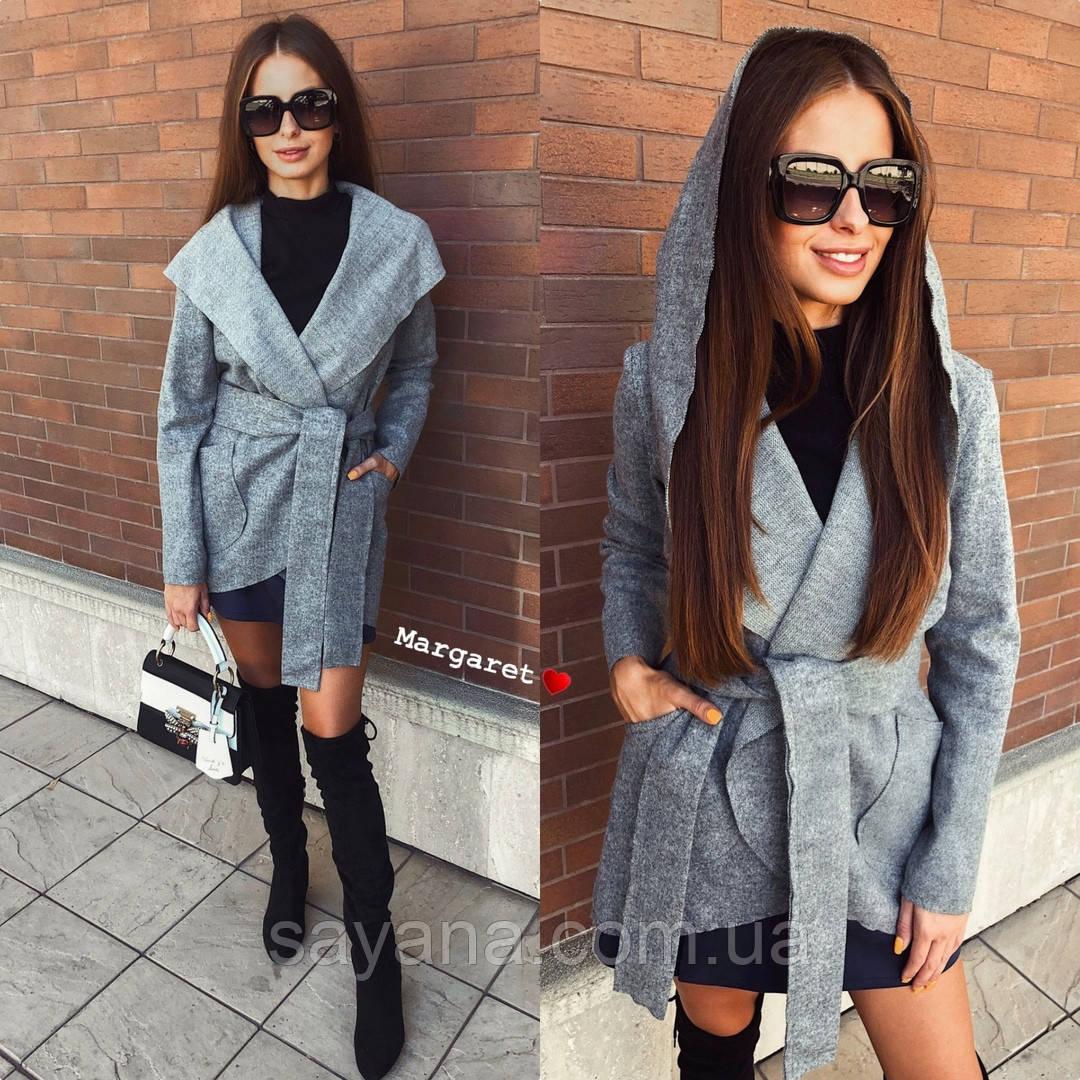 Женское пальто-кардиган с капюшоном в расцветках. БЛ-2-0918