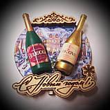 Новогодний магнит с 2 бутылками круг, фото 4