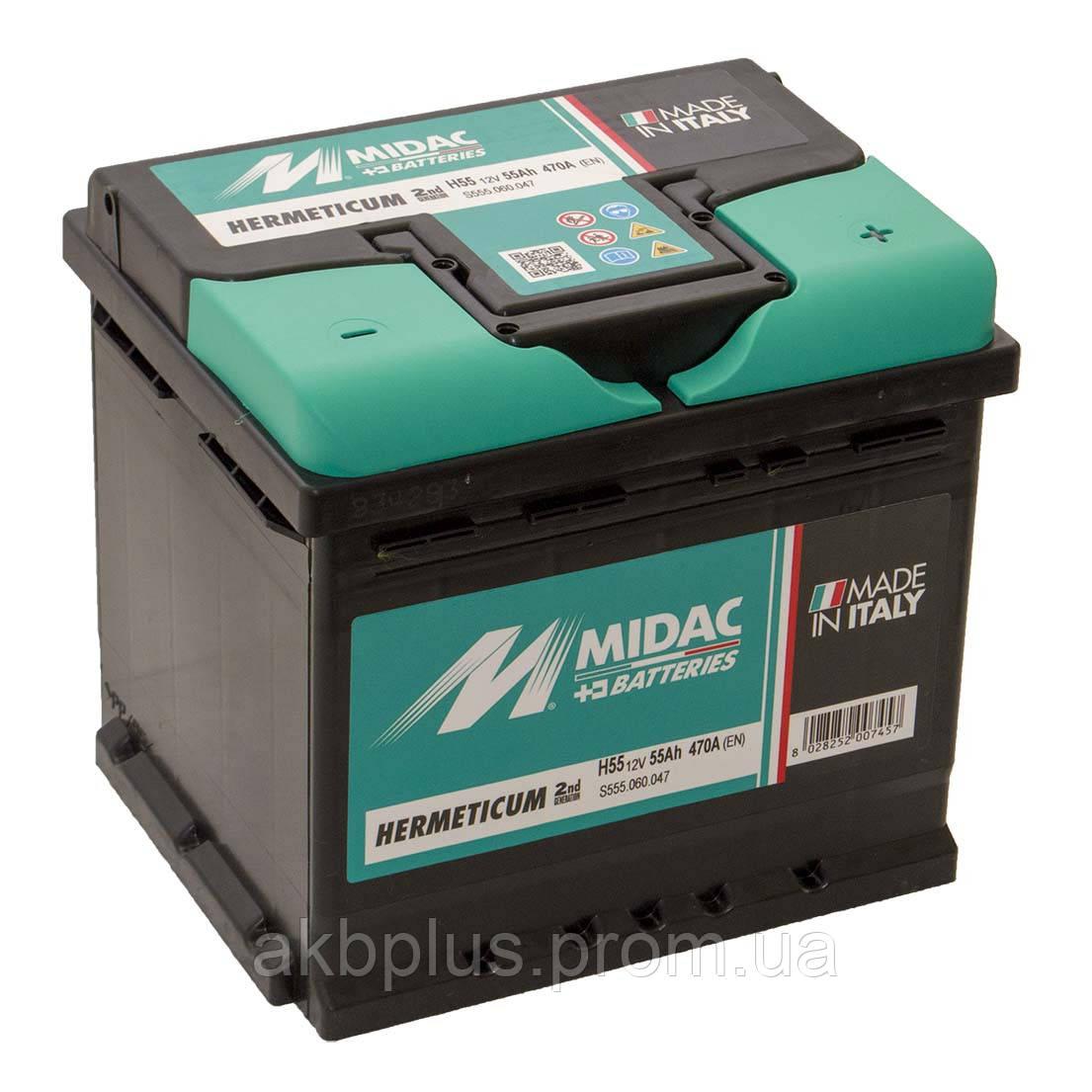Аккумулятор 6СТ-55 MIDAC HERMETICUM, 12V 55Ah (-/+) евро, Мидак Герметикум, 12В, 55Ач, EN470А