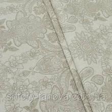 Декоративная ткань, цветочный принт коричневый