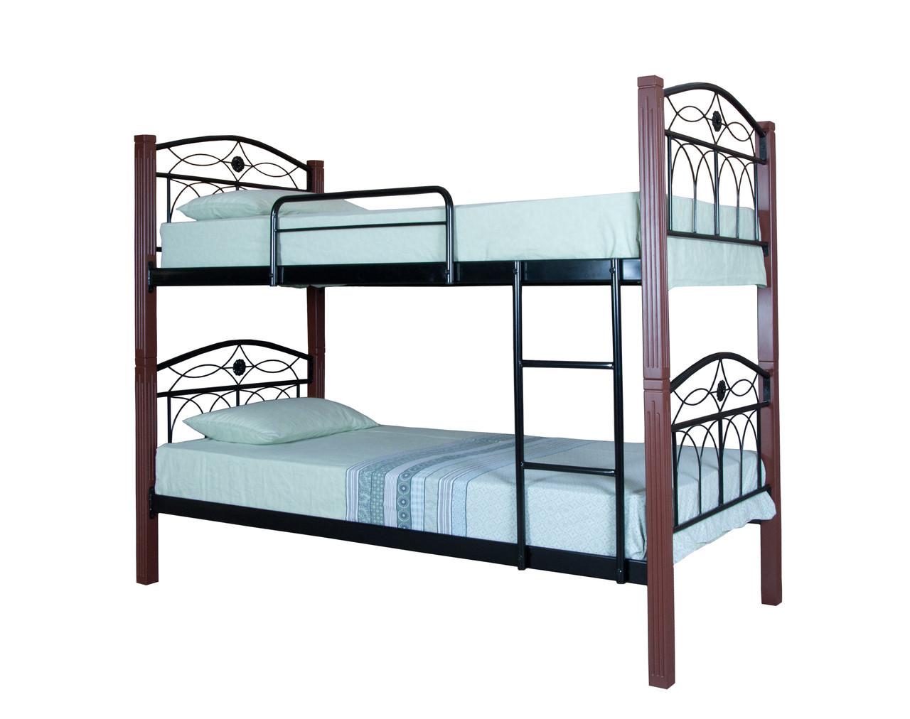 Кровать Элизабет двухъярусная  200х90, бордовая
