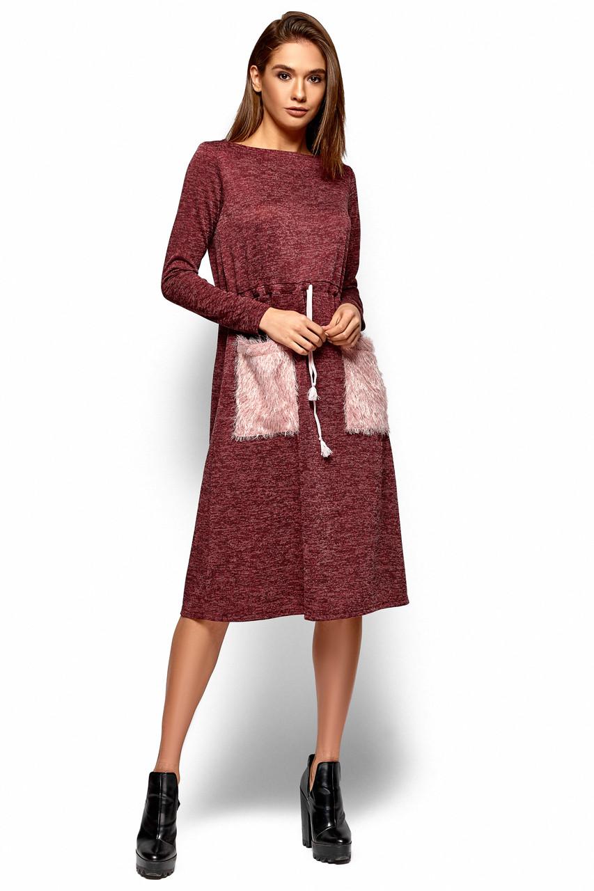d2ed7968dd862d1 Модное платье на осень до колен свободное со шнурком накладные карманы  длинные рукава бордовое -