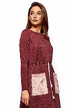 0120f597b414014 Модное платье на осень до колен свободное со шнурком накладные карманы  длинные рукава бордовое, фото