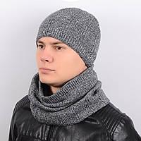 Набор шапка и шарф KMP1701 темно-серый-белый