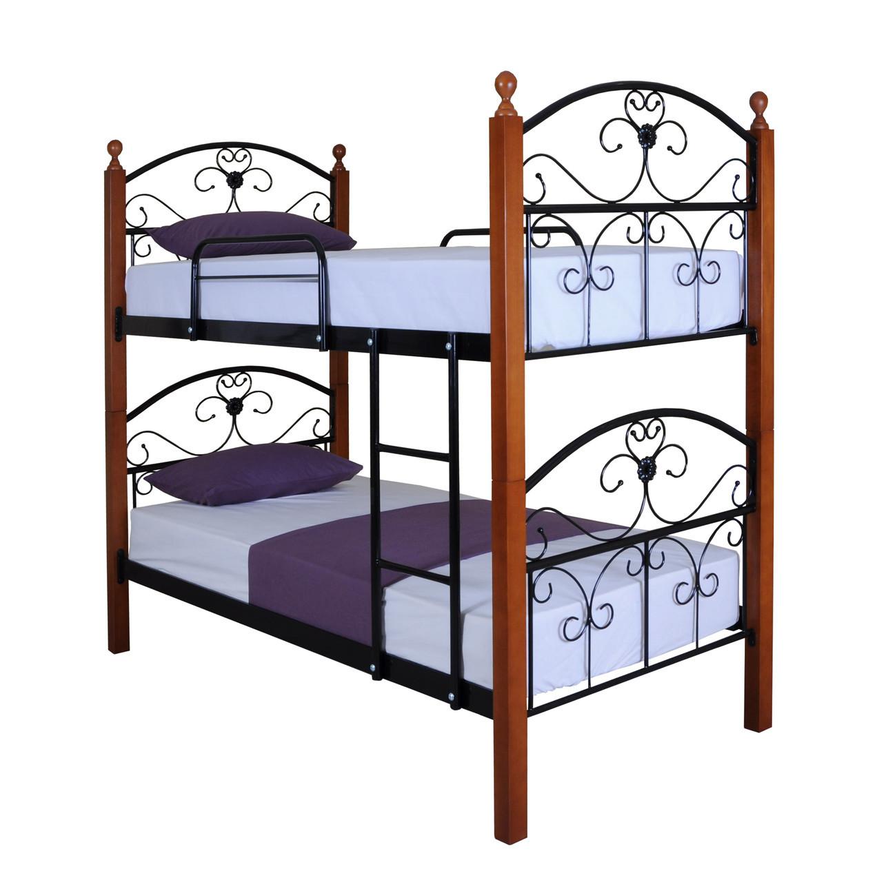 Кровать Патриция Вуд двухъярусная 190х90, розовая