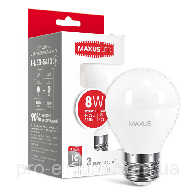 LED-лампа MAXUS G45 F 8W теплый свет E27 (1-LED-5413)