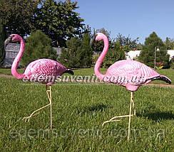 Садовая фигура два Фламинго на металлических лапах, фото 3