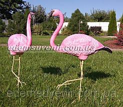 Садовая фигура два Фламинго на металлических лапах, фото 2