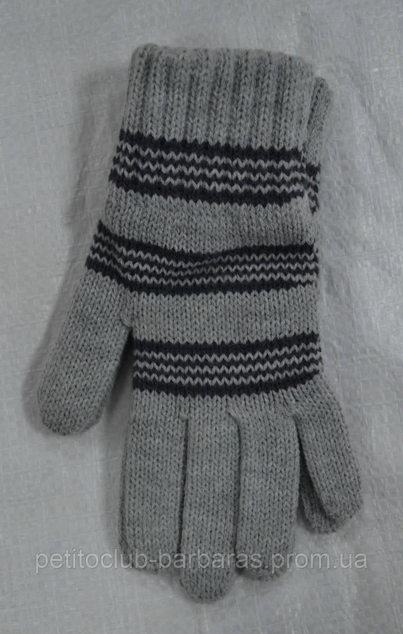 Перчатки для мальчика Big серые в темно-серые полоски (MargotBis, Польша)