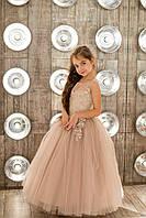 Нарядное платье Silk Road 00038-1 122-128 см бежевое