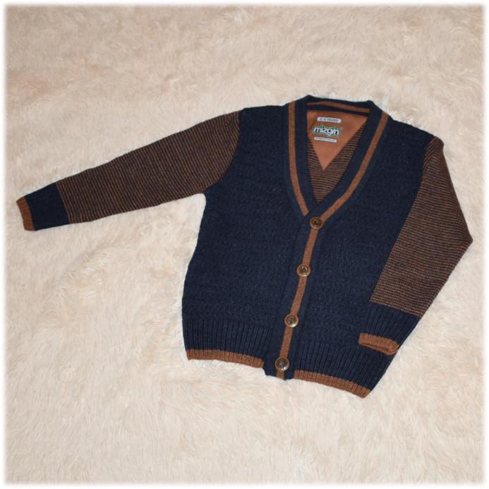 Свитер полушерсть для мальчика синий на пуговицах Турция размер 110 116 122 128 134 140 146 152