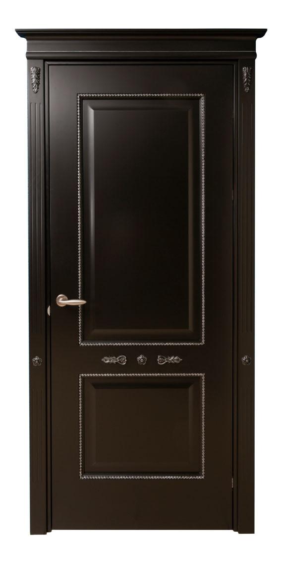 Межкомнатная дверь клен, цвет черный с серебряной патиной. Серия 100