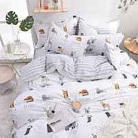 Хлопковый комплект постельного белья  Азбука животных (двуспальный-евро), фото 1