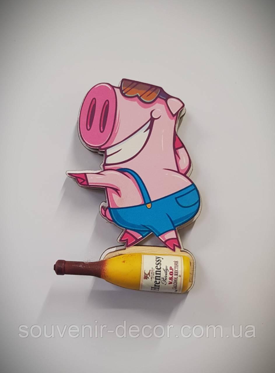 Новогодний магнит Свинка диско
