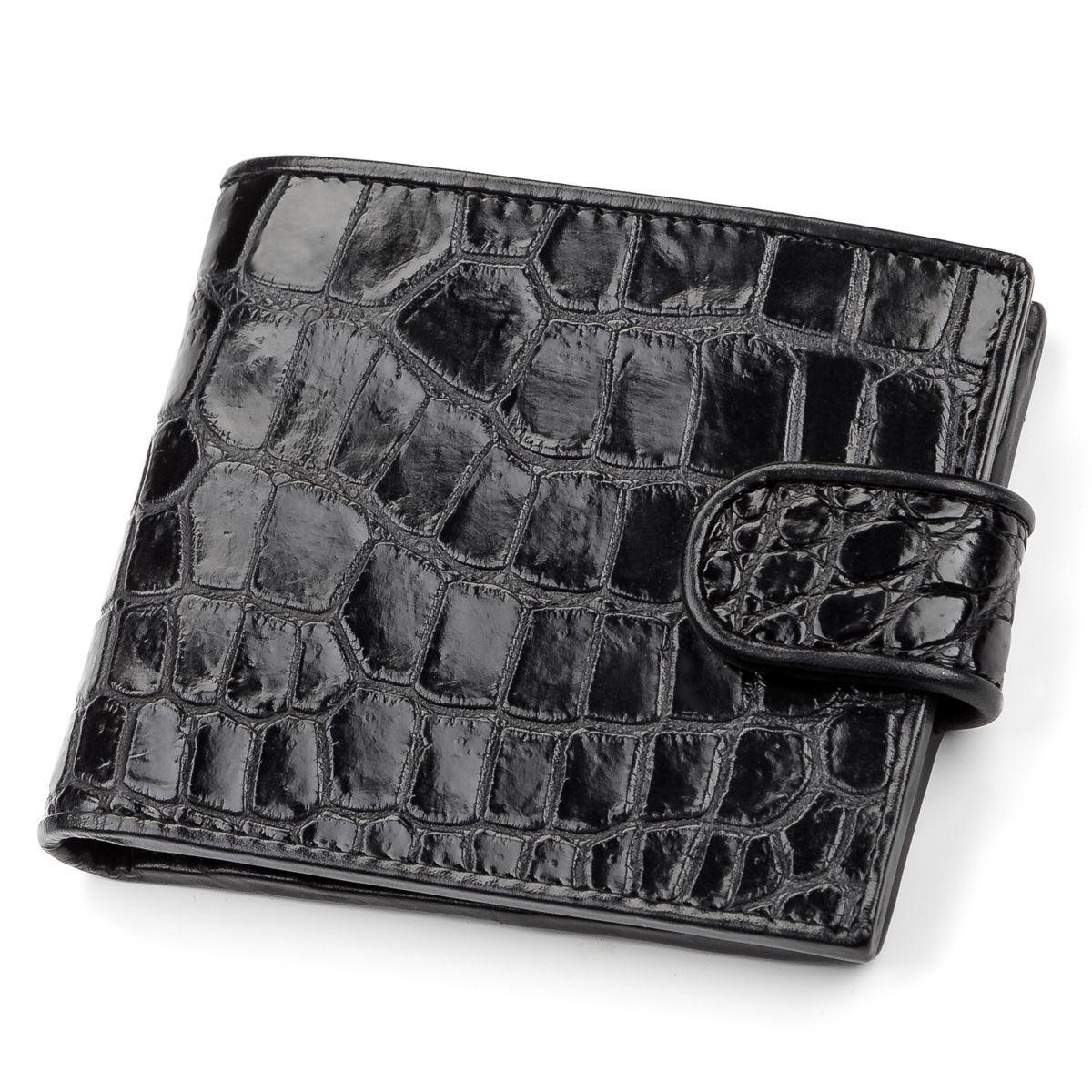 Портмоне Ekzotic Leather из натуральной кожи крокодила Черное   (cw 51)