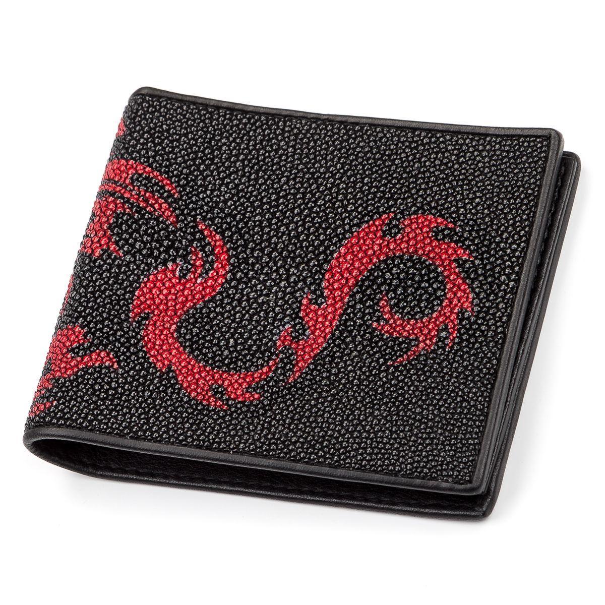 Портмоне мужское Ekzotic leather из натуральной кожи морского ската Черное (stw 49)