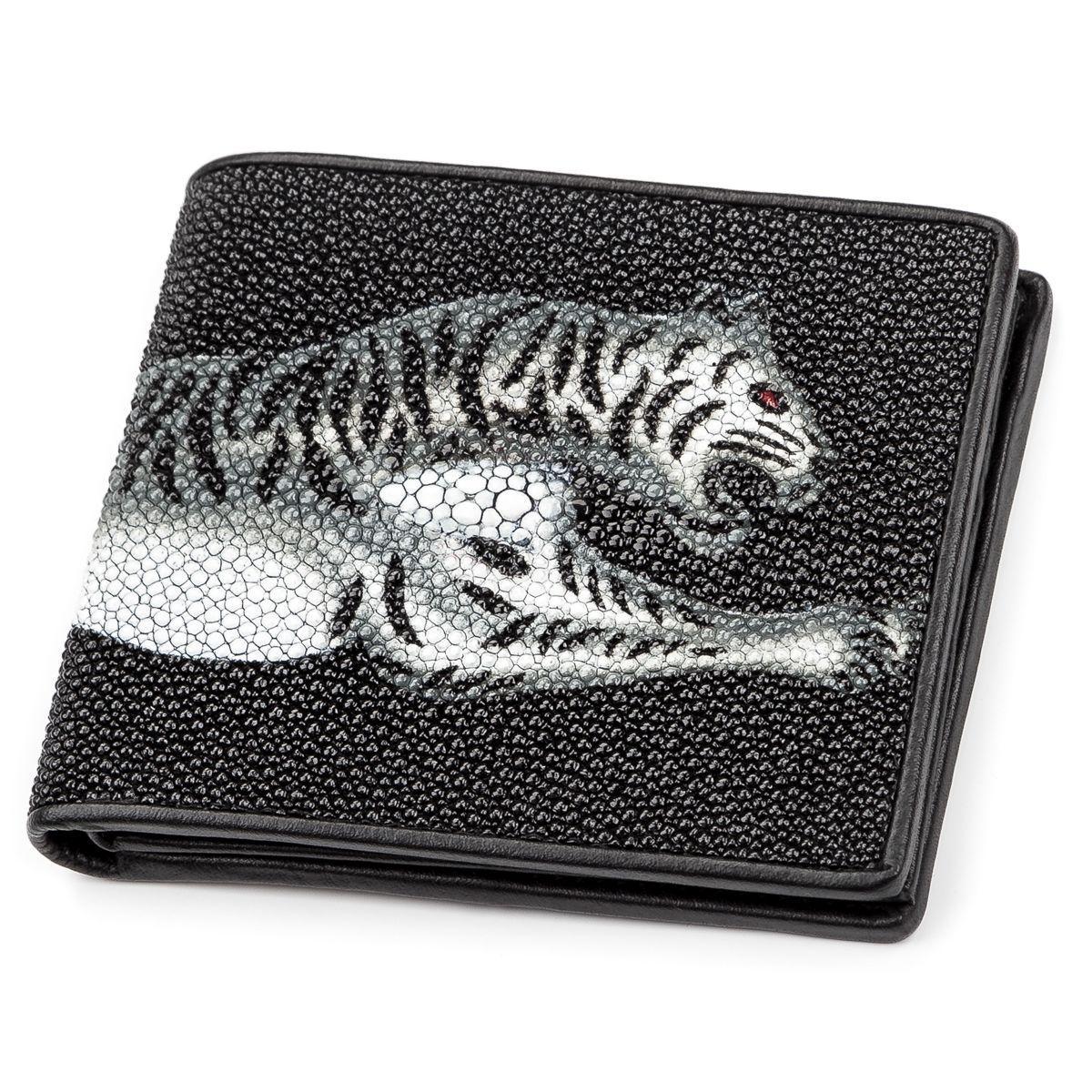 Портмоне мужское Ekzotic leather из натуральной кожи морского ската Черное (stw 50)