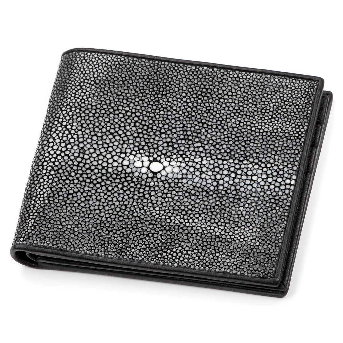 Портмоне мужское Ekzotic Leather из натуральной кожи морского ската Черное (stw 51)