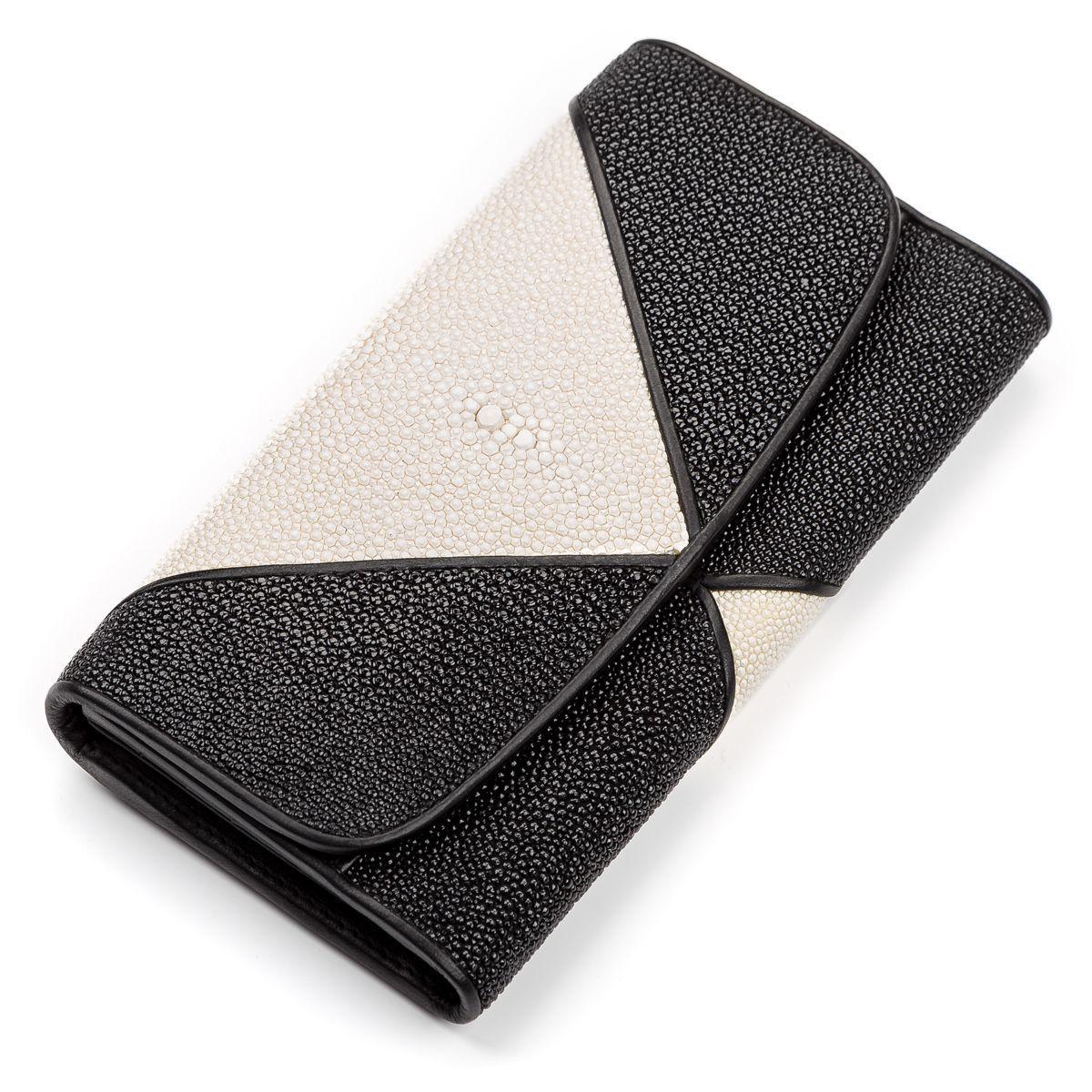 Кошелек женский Ekzotic leather из натуральной кожи морского ската Черный (stw 82)