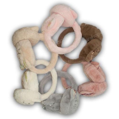 Меховые наушники с ушками для девочки, р. 48-54
