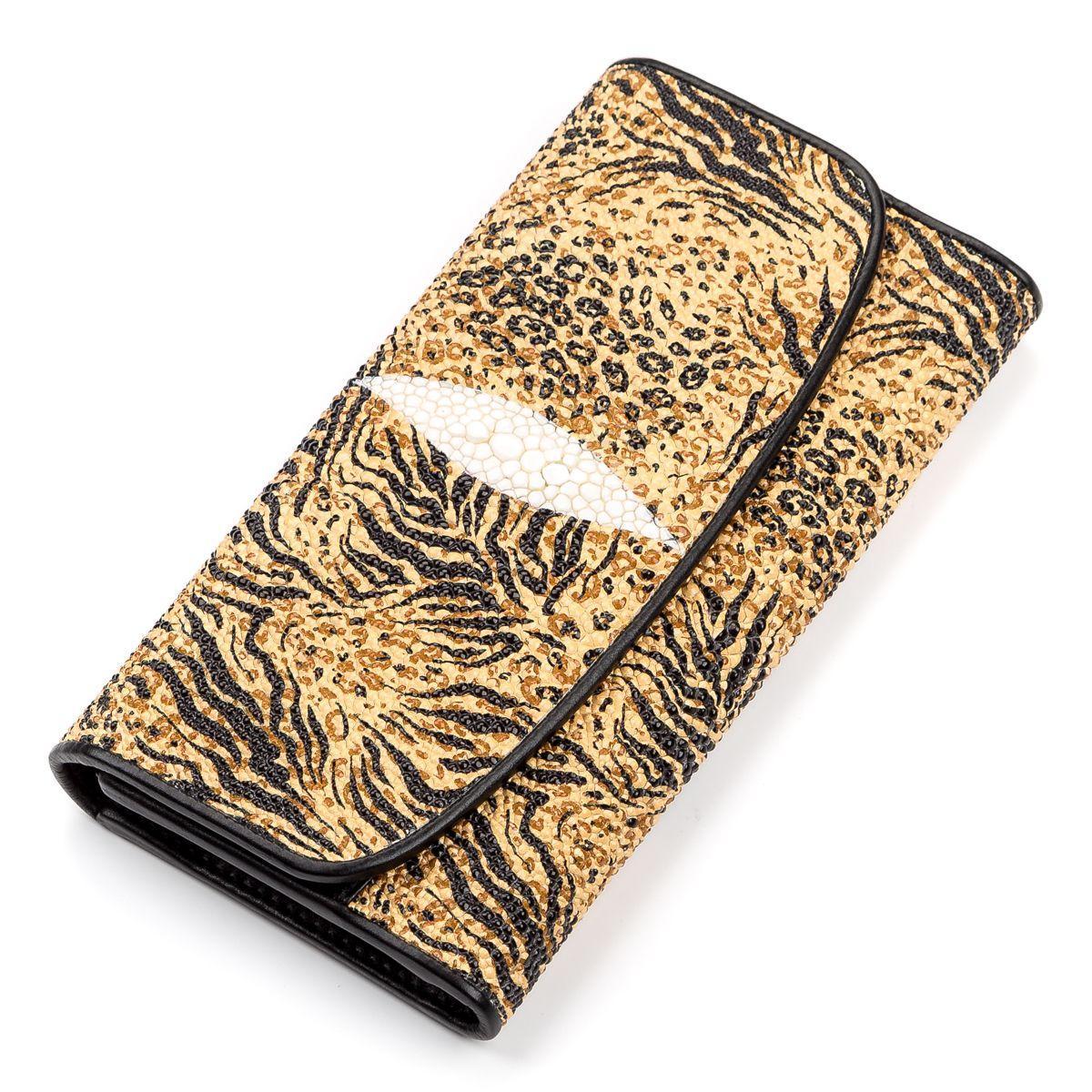 Кошелек женский Ekzotic leather из натуральной кожи морского ската Разноцветный (stw 89)