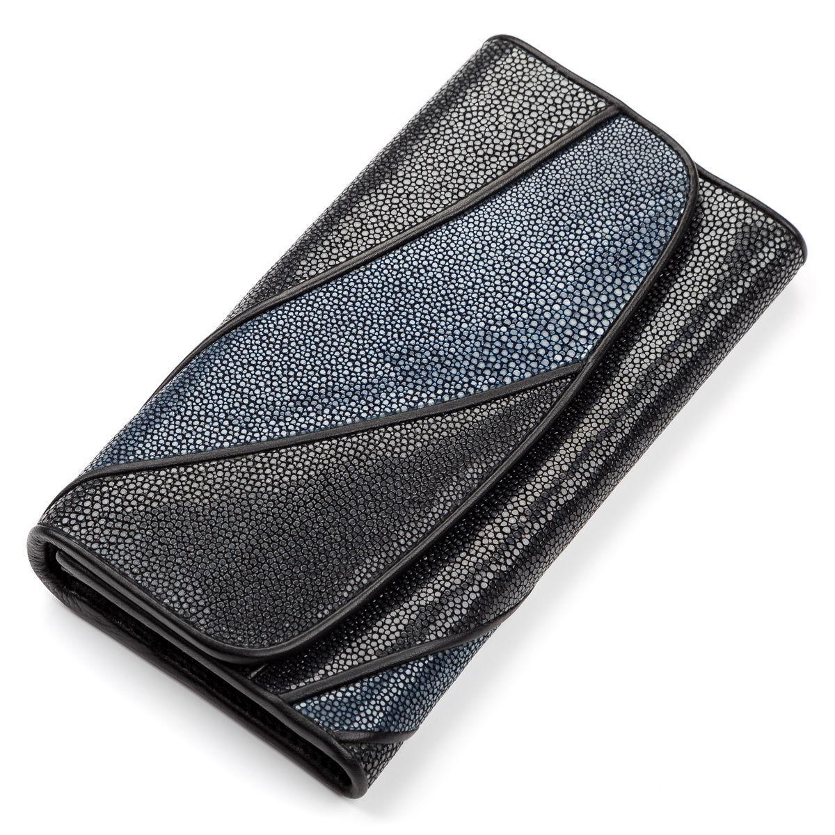 Кошелек женский Ekzotic leather из натуральной кожи морского ската Черный (stw 96)