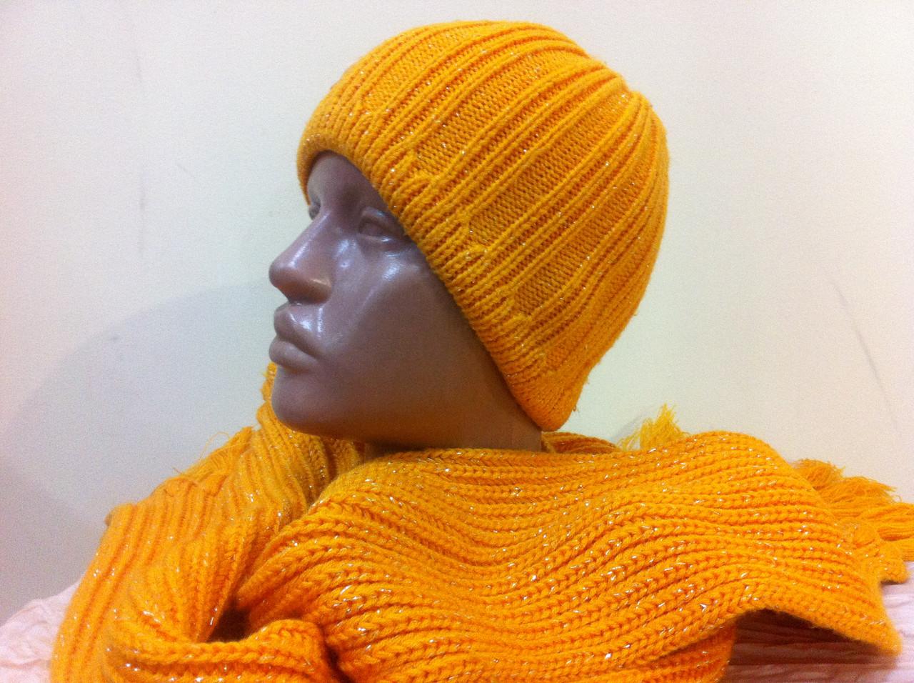 Молодежный жлтый комплект  шапка + шарф