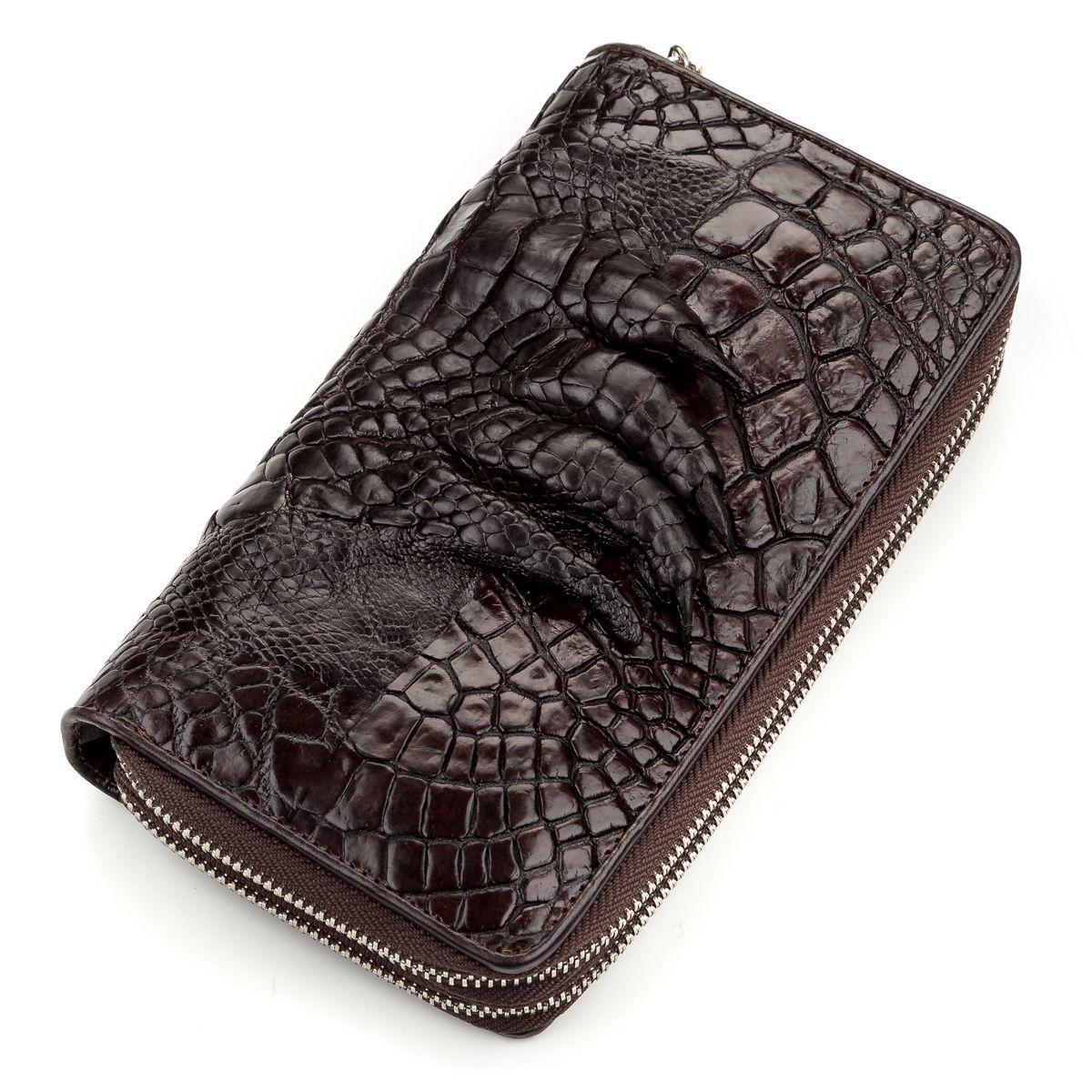 Кошелек-клатч Ekzotic Leather из натуральной кожи крокодила Коричневый   (cw 57)