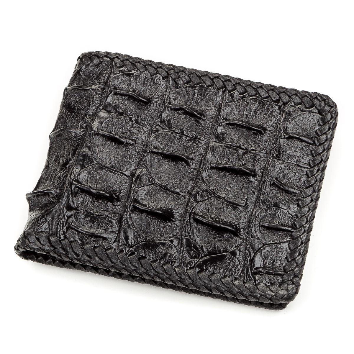 Портмоне Ekzotic Leather из натуральной кожи крокодила Черное   (cw 59)