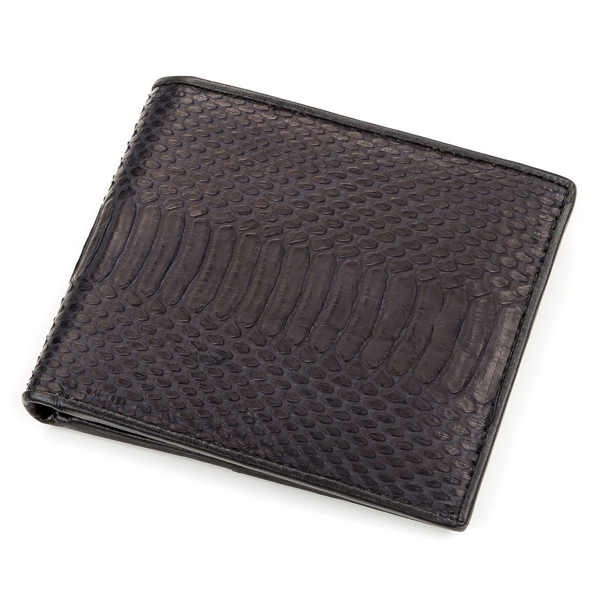 Портмоне Ekzotic Leather из натуральной кожи питона Черное   (snw 55)