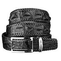 Ремень-автомат Ekzotic Leather из натуральной кожи крокодила Черный   (crb 15)