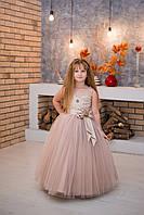Шикарное детское выпускное платье для девочки Silk Road на утренник Новый Год 00043-1 110-116 см бежевое