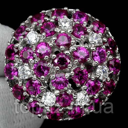 Кольцо серебряное 925 натуральный рубин, белый сапфир.
