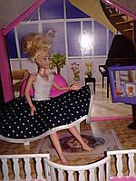 Подарок девочке на 8 Марта.Платье  в белый горошек для куклы Барби.